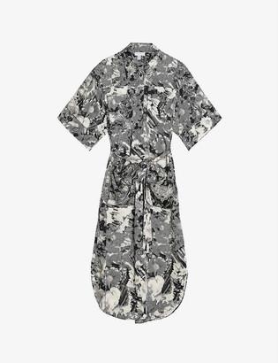 Topshop Boutique floral-print midi cotton shirt dress