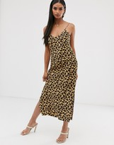 Asos Design DESIGN satin cami maxi slip dress in animal print
