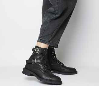 Office Accomplice Lace Up Buckle Boots Black Leather Silver Hardware