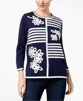 Alfred Dunner Montego Bay Striped Rhinestone-Embellished Sweater
