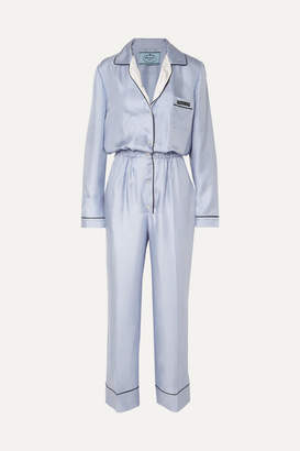 Prada Silk-twill Jumpsuit - Light blue