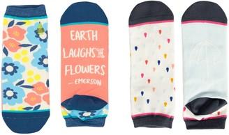 Woven Pear Hamatreya and Raindrops Ankle Socks,Set of Two