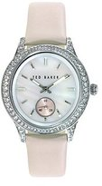 "Ted Baker Women's TE2119 ""Vintage Glam"" Swarovski Crystal-Accented Stainless Steel Watch with Pink Leather Band"