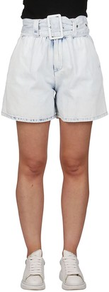 MSGM High-Waisted Belted Denim Shorts