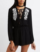 Charlotte Russe Lace-Up Embroidered Romper
