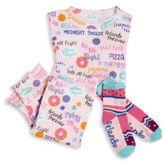 Books To Bed Toddler's & Little Girl's Three-Piece Snuggle Moon Sleepover Pajamas & Socks Set