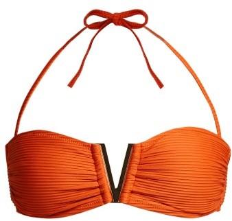 Heidi Klein Casablanca V Bar Ribbed Bikini Top - Womens - Orange
