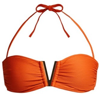 Heidi Klein Casablanca V-bar Ribbed Bikini Top - Orange