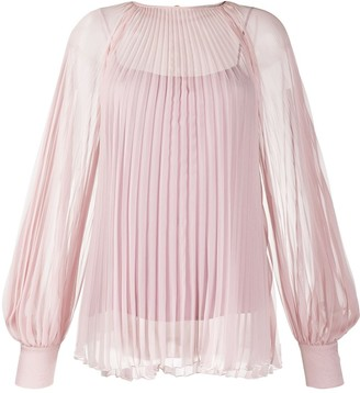 Blumarine Sheer Pleated Blouse