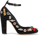 Alexander McQueen Embellished Velvet Pumps - Black