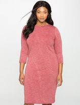 ELOQUII Plus Size Striped Long Sleeve Column Dress