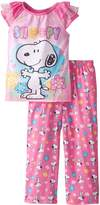 Komar Kids Big Girls' Snoopy Short Sleeve Pant Set
