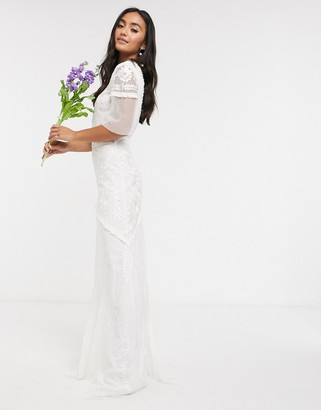 Frock and Frill Bridal maxi dress with embellishment and frill detail