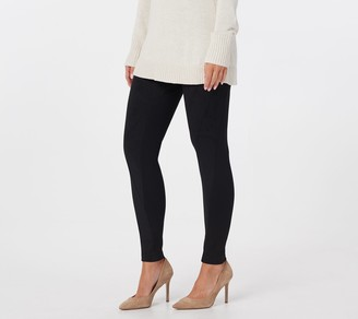 Women With Control Regular Tummy Control Faux Suede and Ponte Leggings