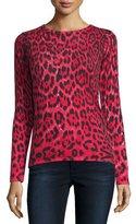 Neiman Marcus Cashmere Leopard-Print Crewneck Sweater
