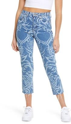 Topshop Laser Print Raw Hem High Waist Crop Straight Leg Jeans