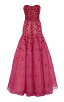 J. Mendel Strapless Embroidered Gown