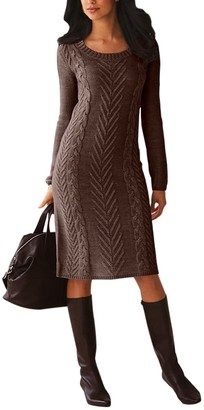 Asvivid Womens Casual Cable Knit Long Sleeve Sweater Dress Crew Neck Solid Color Slim Pullover Long Jumper