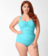 Esther Williams Plus Size 1950s Style Pin Up Teal Swimsuit