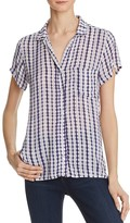 Side Stitch Printed Short-Sleeve Button-Down Shirt