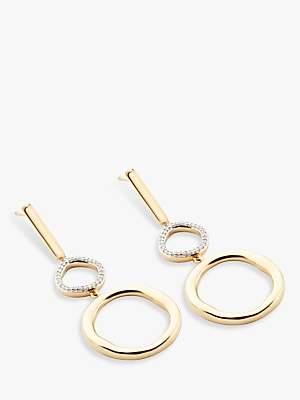 Modern Rarity Diamond Large Link Hoop Drop Earrings, Gold