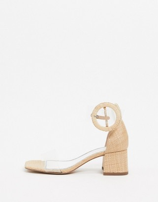 ASOS DESIGN Hopeful block heeled clear sandals in natural fabrication