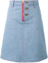 House of Holland x Lee heart applique denim skirt - women - Cotton/Polyester/Spandex/Elastane - S