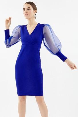 Coast Organza Puff Sleeve Wrap Dress