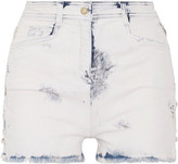 Balmain Lace-up Distressed Denim Shorts - Light denim