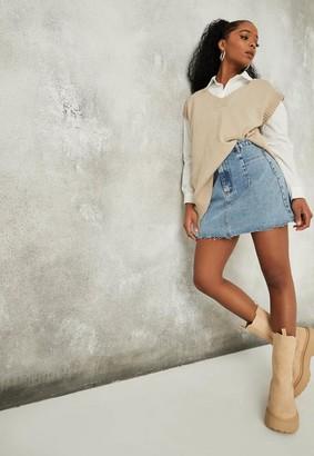 Missguided Blue Pleat Front Denim Mini Skirt