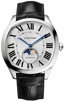 Cartier Drive de Moon Phase Stainless Steel & Black Alligator-Strap Watch