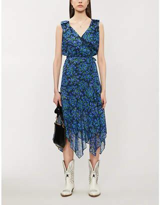 The Kooples Floral-print sleeveless silk-chiffon wrap dress