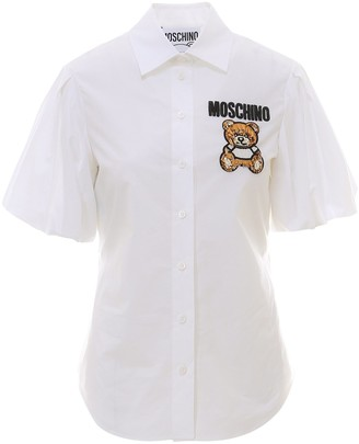 Moschino Teddy Bear Embroidered Short Sleeve Shirt