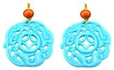 Kenneth Jay Lane Turquoise Carved Deco Filigree Earrings