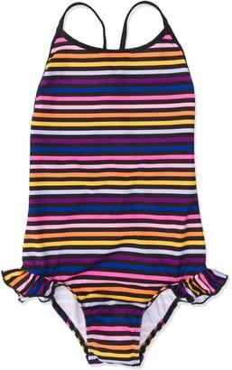 Sonia Rykiel Enfant Ruffle Trim Stripe Swimsuit