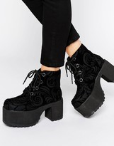 T.U.K. Nosebleed Velvet Lace Up Mega Platform Ankle Boots