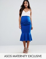 Asos Over The Bump Peplum Hem Bodycon Midi Skirt