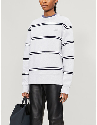 Acne Studios Fairview face-patch striped cotton-jersey sweatshirt