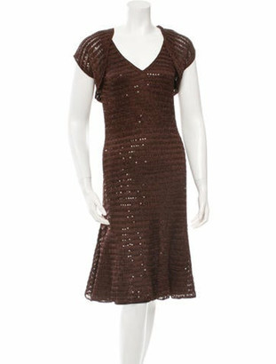 Carmen Marc Valvo Bolero-Overlay Sequined Dress brown