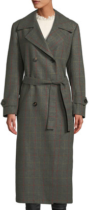 Giuliva Heritage Collection The Christie Double-Breasted Windowpane Check Wool-Cashmere Trench Coat