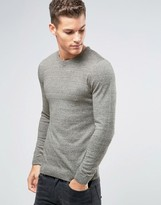 Asos Muscle Fit Cotton Crew Neck Sweater