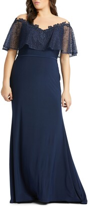Mac Duggal Lace Capelet Jersey Gown