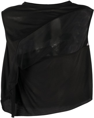 Rick Owens Lilies Sheer-Panel Cropped Top