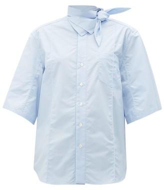 Toga Tie-neck Cotton Shirt - Womens - Light Blue