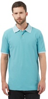 Maine New England Big And Tall Aqua Textured Collar Polo Shirt