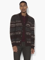 John Varvatos Patterned Shawl Collar Cardigan