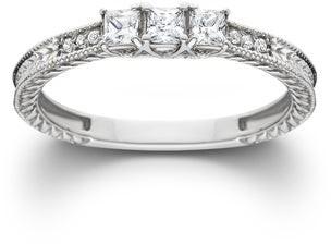 Pompeii3 14k White Gold 1/3ct TDW Diamond Vintage Three Stone Promise Ring