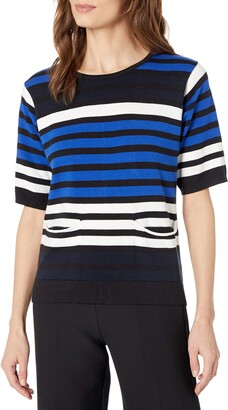 Joan Vass Women's Multi Color Stripe Sweater