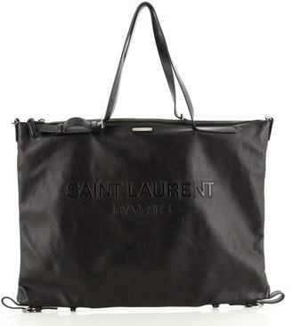 Saint Laurent Embossed Logo ID Convertible Bag Embossed Leather