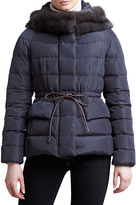 Moncler Fur-Trim Hip-Length Puffer Jacket, Charcoal